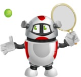 Smart Robot Cartoon Vector Character AKA Chubbydroid 3000 - Tennis 1