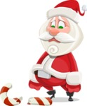 Small Santa Vector Cartoon Character - Being Sad With Broken Candy Cane