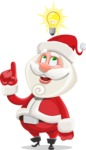 Small Santa Vector Cartoon Character - Being Smart with an Idea