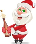 Small Santa Vector Cartoon Character - Celebrating With Champagne