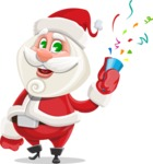 Small Santa Vector Cartoon Character - Celebrating with Confetti