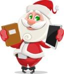 Small Santa Vector Cartoon Character - Choosing Between a Book and a Modern Tablet Reading