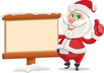 Small Santa Vector Cartoon Character - Choosing the Way in Snow