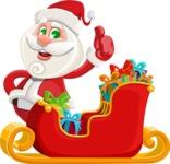Small Santa Vector Cartoon Character - Christmas Sleigh