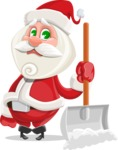 Small Santa Vector Cartoon Character - Cleaning the Snow