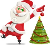 Small Santa Vector Cartoon Character - Decorating Christmas Tree