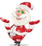Small Santa Vector Cartoon Character - Enjoying the Snowing