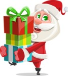 Small Santa Vector Cartoon Character - Giving Christmas Presents