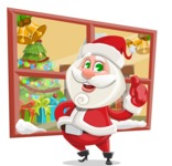 Small Santa Vector Cartoon Character - Going to House Illustration