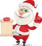 Small Santa Vector Cartoon Character - Holding a Blank Scroll