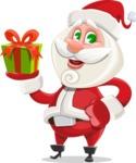 Small Santa Vector Cartoon Character - Holding a Gift