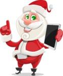 Small Santa Vector Cartoon Character - Holding a New Tablet