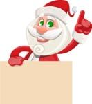 Small Santa Vector Cartoon Character - Holding Blank Presentation Sign