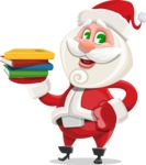 Small Santa Vector Cartoon Character - Holding Books