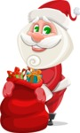 Small Santa Vector Cartoon Character - Holding Christmas Sack with Gifts