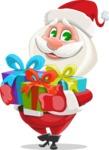 Small Santa Vector Cartoon Character - Holding Presents