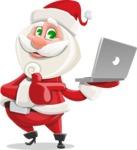 Small Santa Vector Cartoon Character - Holsing a Laptop Present