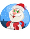 Small Santa Vector Cartoon Character - In a Christmas Badge Template