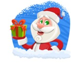 Small Santa Vector Cartoon Character - In a Cristmas Sticker Template