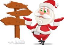Small Santa Vector Cartoon Character - Making a Presentation on a Christmas Board