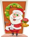 Small Santa Vector Cartoon Character - On a House Door Illustration