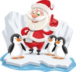 Small Santa Vector Cartoon Character - On an Iceberg with Penguins