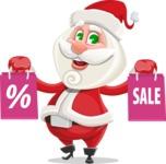 Small Santa Vector Cartoon Character - On Christmas Sale