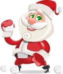 Small Santa Vector Cartoon Character - Playing with Snowballs