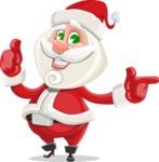 Small Santa Vector Cartoon Character - Pointing and Making Thumbs Up