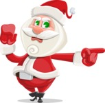 Small Santa Vector Cartoon Character - Pointing with a Finger