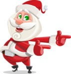 Small Santa Vector Cartoon Character - Pointing with Hands