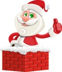 Small Santa Vector Cartoon Character - Popping out of a Chimney