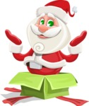 Small Santa Vector Cartoon Character - popping out of a Christmas Box