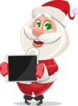 Small Santa Vector Cartoon Character - Presenting a Tablet