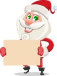 Small Santa Vector Cartoon Character - Presenting on a Blank Sign Template