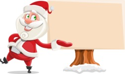 Small Santa Vector Cartoon Character - Presenting on a Blank Whiteboard for Christmas