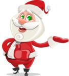 Small Santa Vector Cartoon Character - Presenting with Both Hands