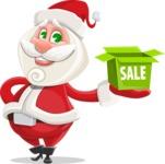 Small Santa Vector Cartoon Character - Shopping for Gifts