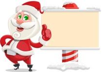 Small Santa Vector Cartoon Character - Showing a Blank Christmas Sign