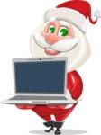 Small Santa Vector Cartoon Character - Showing a Laptop