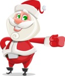 Small Santa Vector Cartoon Character - Showing with a Hand