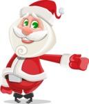 Small Santa Vector Cartoon Character - Showing witha Smile