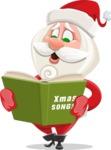 Small Santa Vector Cartoon Character - Singing Christmas Songs