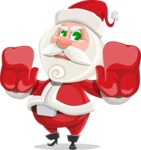 Small Santa Vector Cartoon Character - Stopping with Hands