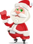 Small Santa Vector Cartoon Character - Waving for Goodbye with a Hand