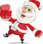 Small Santa Vector Cartoon Character - Waving for Welcome with a Hand
