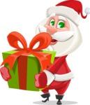 Small Santa Vector Cartoon Character - With a Big Christmas Present