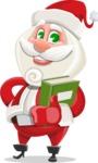 Small Santa Vector Cartoon Character - With a Book