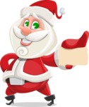 Small Santa Vector Cartoon Character - With a Business Card