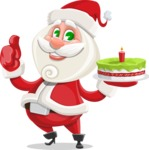 Small Santa Vector Cartoon Character - With a Cake for Christmas